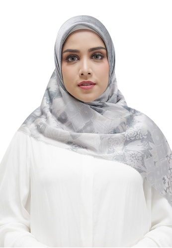 Buttonscarves 灰色 Buttonscarves Maharani Satin Square Grey 33097AA92807D0GS_1