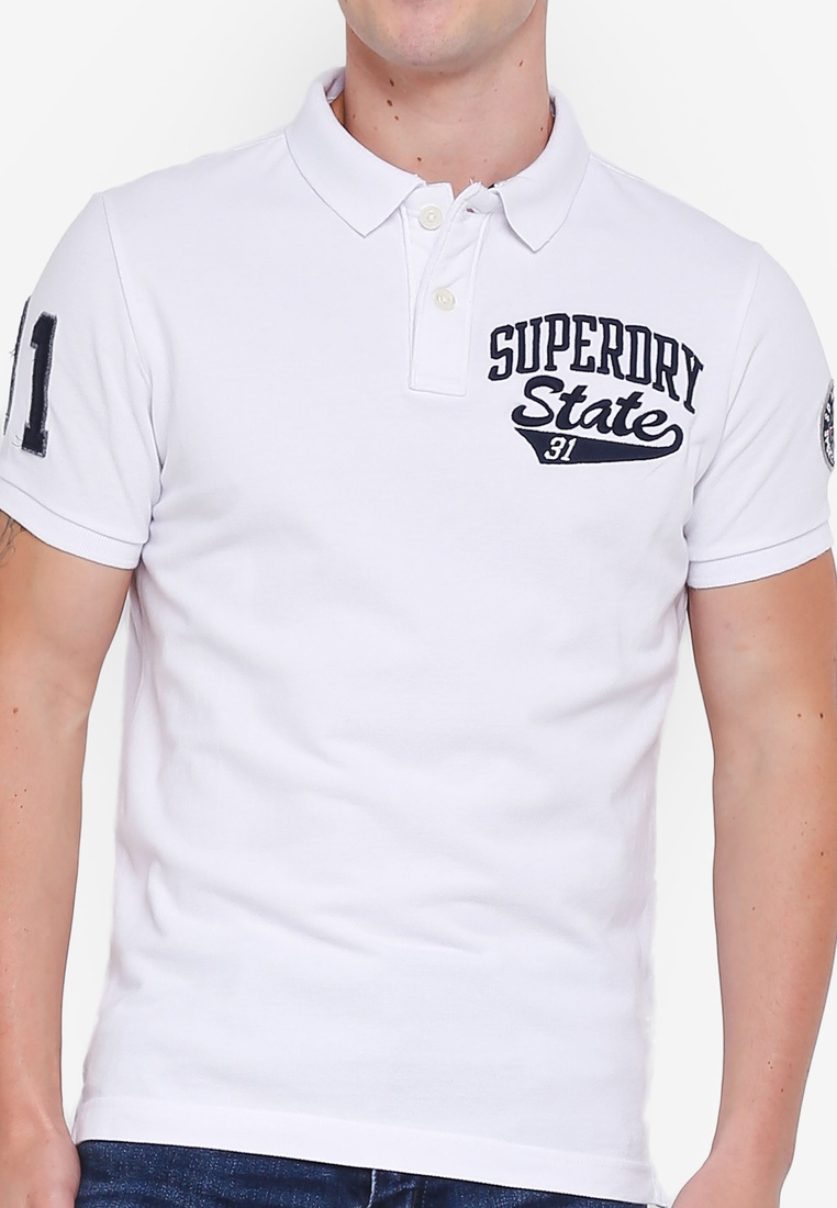 Superstate White Superdry Classic Sleeve Shirt Optic Short Polo SwqqvFd