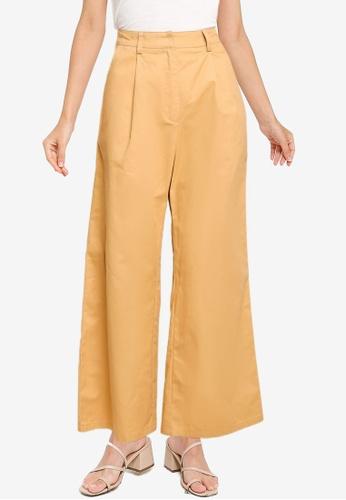 ZALORA WORK 褐色 Wide Leg Tailored Pants DA3D4AA50699F9GS_1