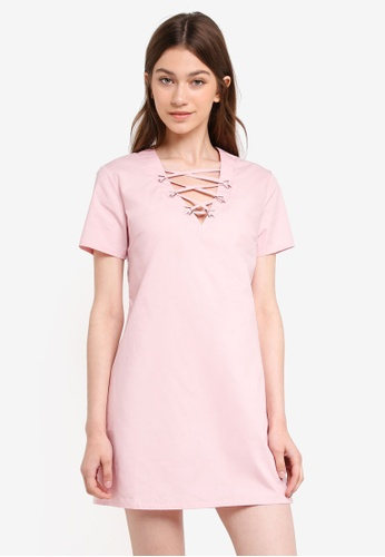 Something Borrowed pink Lace Up Detail Shift Dress C7775AA51CF682GS_1