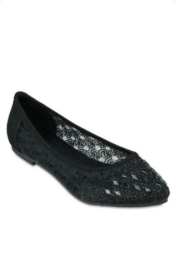 閃esprit 童裝飾尖頭平底鞋, 女鞋, 鞋