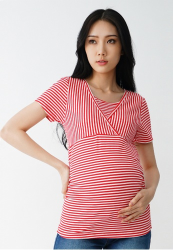 9months Maternity red Red S/S Nursing Wrap Top 9465DAADC7D326GS_1