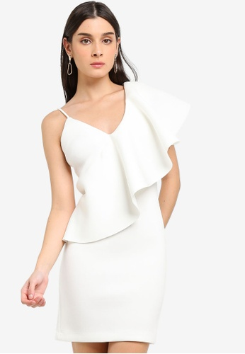 Lavish Alice white Exaggerated One Shoulder Frill Scuba Mini Dress FD09AAADCCAD61GS_1