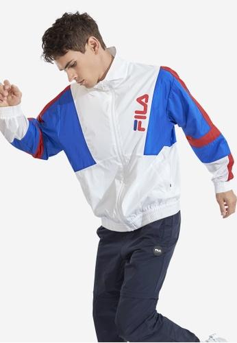 FILA white Fusion Slash FILA Logo Colour Block Loose Fit Jacket 4854BAA4CA8FD8GS_1