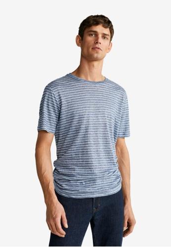 Mango Man blue Linen Striped T-Shirt E51A6AA6D2B06CGS_1