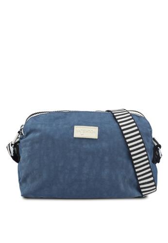 Bagstationz navy Crinkled Nylon Dual Zip Sling Bag With Zebra Strap  9ED67ACABFD20FGS 1 dc0dc6904de48