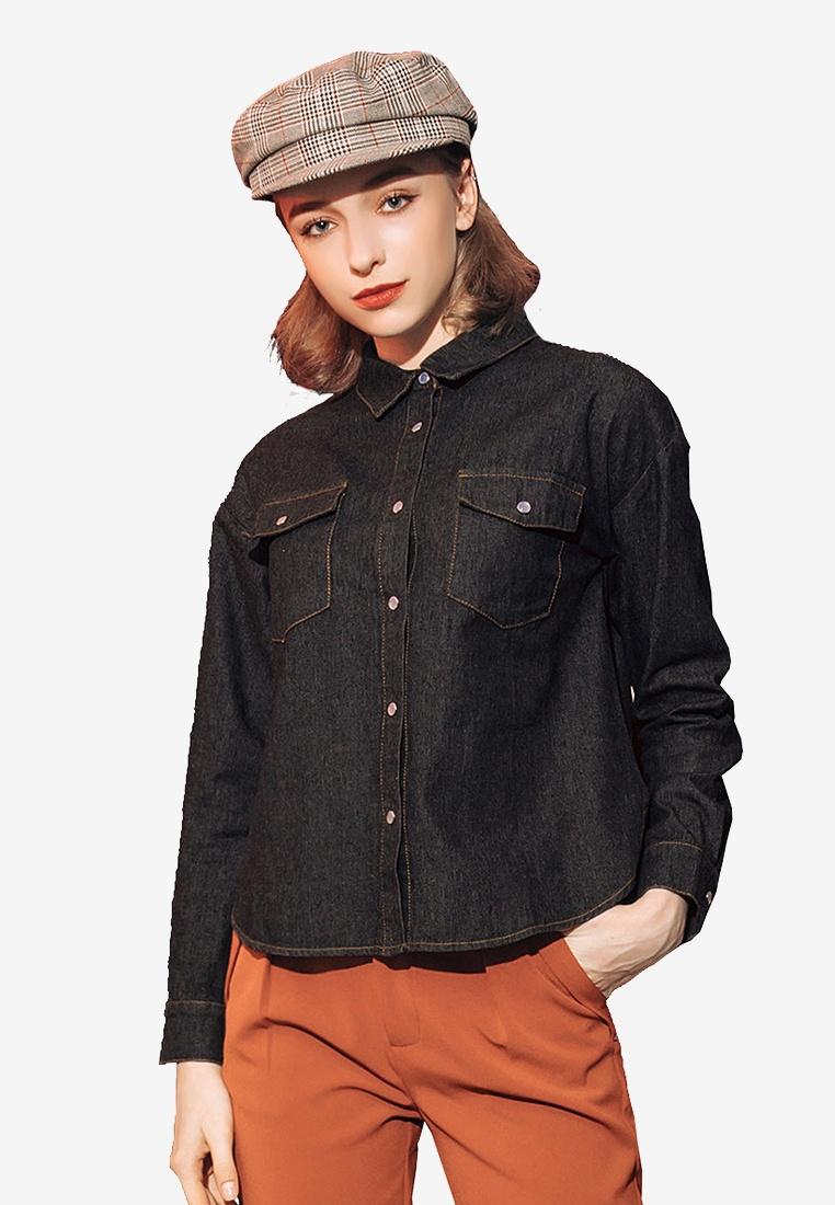 Black Up Buttoned Denim Shirt Kodz FO76q6