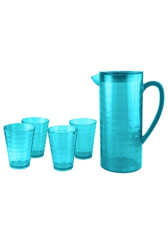Urban Kitchen blue Cubic Plastic Pitcher and 4 pc Tumbler Set Blue E52AAHLCB922F3GS_1