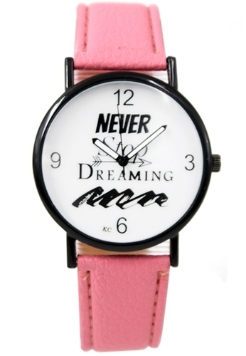 World of Watches pink WOW Never Stop Dreaming Women's Pink Leather Strap Watch WO566AC60UKLPH_1
