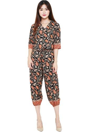Flike Batik multi Batik Flike Store Setelan Wanita Set Alibaba V-Neck  Glamour Black 71497AADCDF35AGS 1 d5cf5b1838