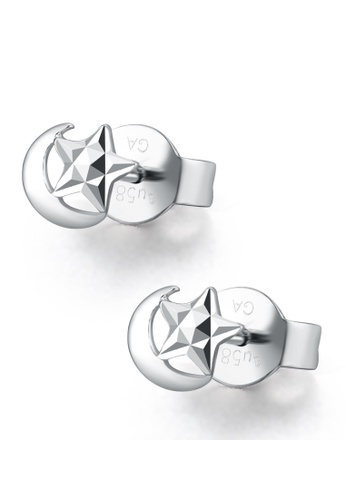 MaBelle silver 14K/585 White Color Gold Moon Star Earrings 644F9ACE28C25EGS_1