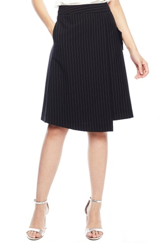 Nichii black Striped Wrap Skirt E7D56AAD3BC43AGS_1