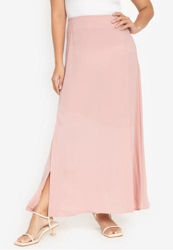 ZALORA BASICS pink Maxi Skirt With Slits 67AD6AA874303FGS_1