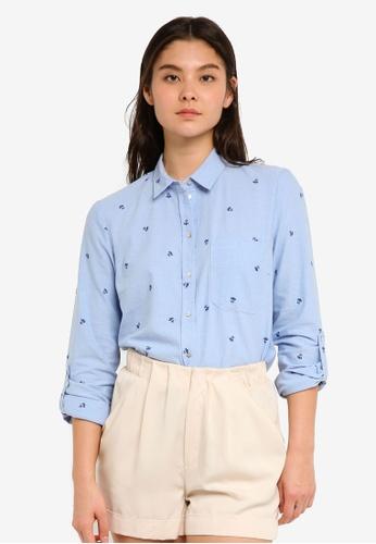 ESPRIT blue Woven Long Sleeve Shirt FFD16AAFDBA104GS_1