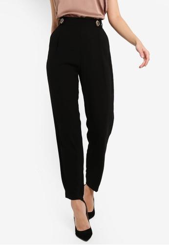 Lipsy black Hardwear Peg Leg Trousers 5D9D5AA6B38AECGS_1