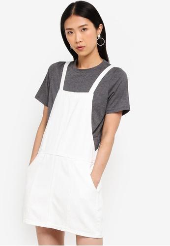ZALORA BASICS white Basic Denim Pinafore Dress 63BFFAA392D1DEGS_1