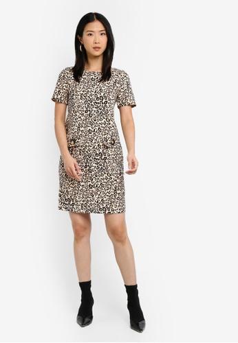 4560bc11f29 Buy Wallis Petite Stone Animal Print Shift Dress Online on ZALORA Singapore