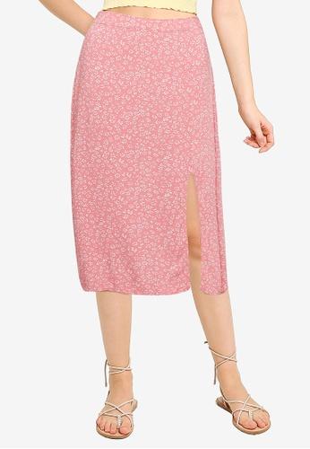 Hollister orange Slip Midi Skirt 1EA57AAF54DCB5GS_1