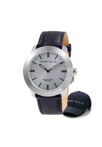 Perry Ellis black Perry Ellis Slim Line Unisex 42mm Quartz Watch 07013-01 with Perry Ellis Cap D2C7AAC6148C2CGS_1