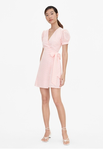 Pomelo pink Mini Eyelet Side Bow Dress - Pink A7DC2AAE50583CGS_1