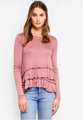 Brave Soul pink Long Sleeve Top With Frill Detail E8E8EAAC10210DGS_1