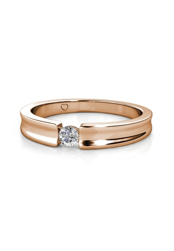 Her Jewellery gold Simplicity Ring (Rose Gold) - Made with premium grade crystals from Austria 2EEC1AC93BBE5EGS_1