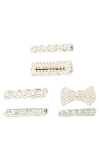 STROBERI white Stroberi Pearl Set Hair Clip- 1 E5228KC5CB6FB9GS_1
