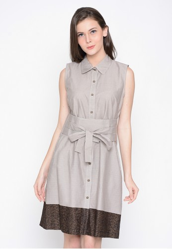 A & D brown A&D Ladies Dress With Belt Ms 1003 - Light Brown AD532AA0WCCCID_1