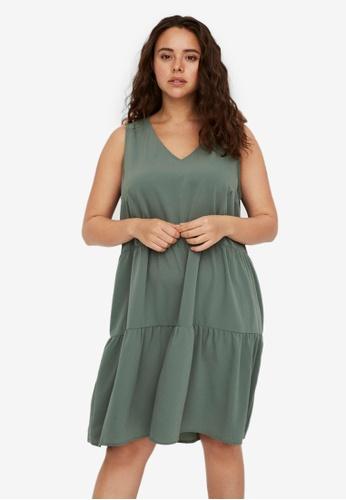 Vero Moda green Curve Peplum Dress 44F2BAA0F7A79CGS_1