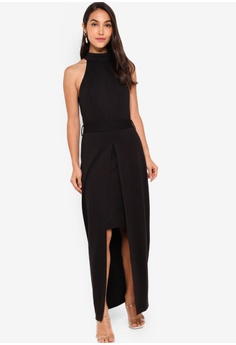 4c2da98fe ZALORA black EVENING Halter Neck Split Detail Maxi Dress 78F2CAAB008ACBGS_1