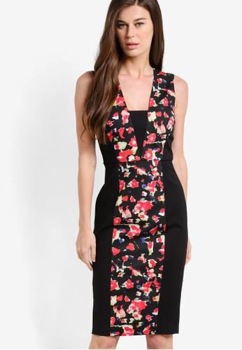 Bella 花卉印花拼接無袖esprit 工作連身裙, 服飾, 洋裝