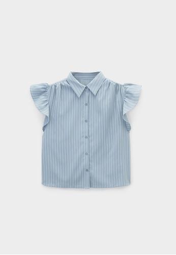 Pomelo blue Ruffled Sleeves Striped Shirt - Blue D56A8AAAB6F04CGS_1