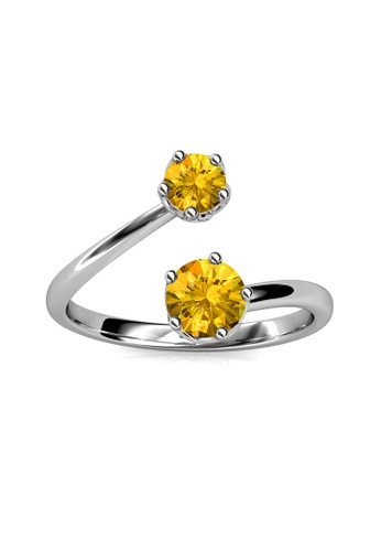 Her Jewellery yellow Birth Stone Ring (November) - Made with premium grade crystals from Austria FD41CAC929341BGS_1