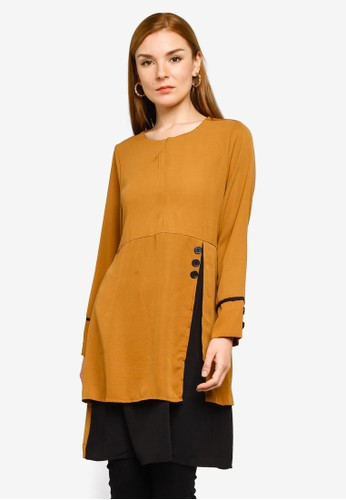 BYN brown Piping Detail Blouse 08C9CAADC14749GS_1
