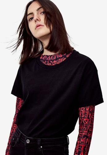 Urban Revivo black Short Sleeves Top 823BAAAD10449FGS_1