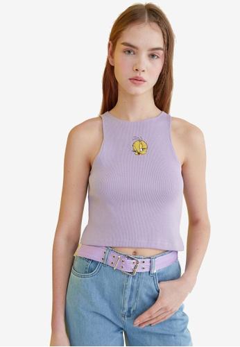 Trendyol purple Embroidered Crop Tank Top 65413AA9ED769BGS_1