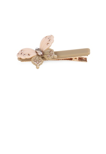 Glamorousky gold Fashion and Elegant Butterfly Gray Hair Clip with Cubic Zirconia B09BFAC1B7A44CGS_1