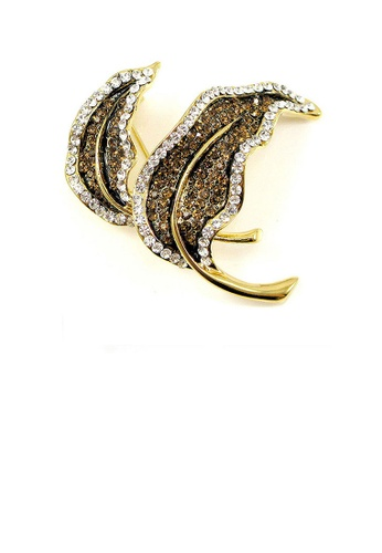 Glamorousky silver Elegant Leaf Brooch with Yellow and Silver Austrian Element Crystal 349DAAC05B687DGS_1