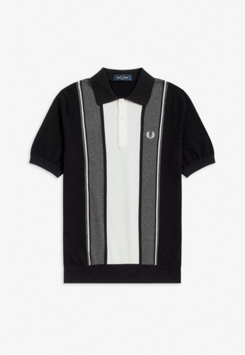 FRED PERRY black K9548 - Striped Knitted Shirt - (Black) 29E17AA95D3552GS_1