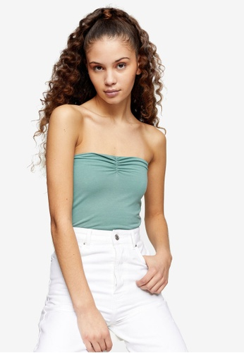 TOPSHOP green Sage Ruched Bandeau 51CA2AABD212CBGS_1