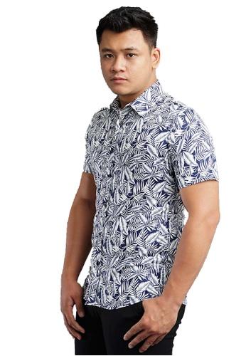 UA BOUTIQUE blue Short Sleeve Shirt Batik SSB119-041 (Blue/ White) B0CECAA2ADE302GS_1