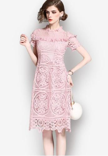 92182e01f23 Shop Sunnydaysweety Elegant Lace One-piece Short Sleeve Dress Online on  ZALORA Philippines