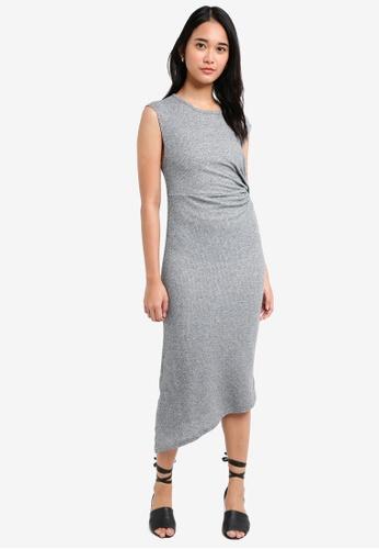 TOPSHOP grey Drape Side Maxi Dress BD389AAD8855CBGS_1