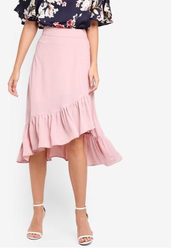 ZALORA pink Asymmetrical Ruffles Skirt C6EC2AAA757995GS_1