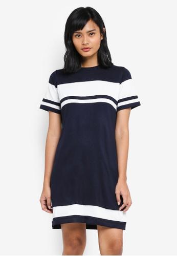 Something Borrowed white Knitted Stripe Tee Dress 93336AA192CC86GS_1