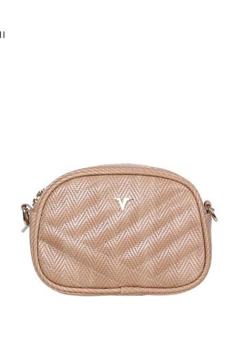 Verchini beige Verchini Quilted Patent Crossbody Bag 34BE4AC5B49E1AGS_1