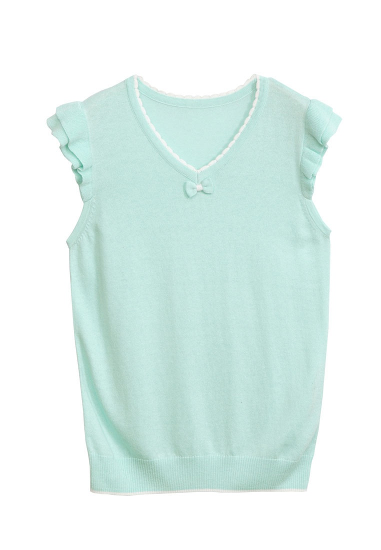 Yoco Neck Light V Green Sleeve Ruffled Top qrHtgwqFx
