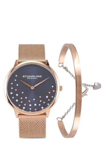 Stuhrling Original black and pink and gold 3928 Quartz Mesh Watch & Bracelet Set F3F75AC76F571CGS_1