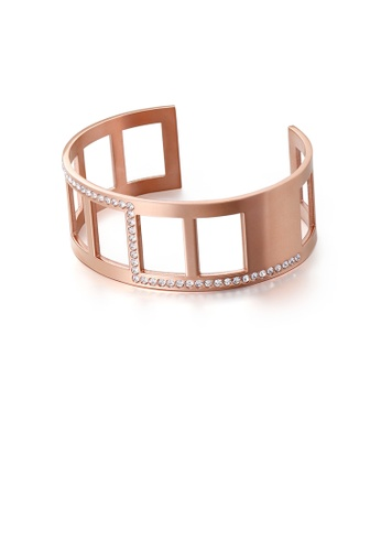 Glamorousky white Fashion Personality Plated Rose Gold Hollow Geometric 316L Stainless Steel Bangle with Cubic Zirconia B3850ACA80B875GS_1