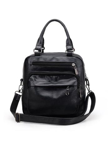 Lara black Women's Soft PU Leather Water Repellent Zipper Backpack Shoulder Bag Handbag - Black FE5D5ACC49C7CDGS_1